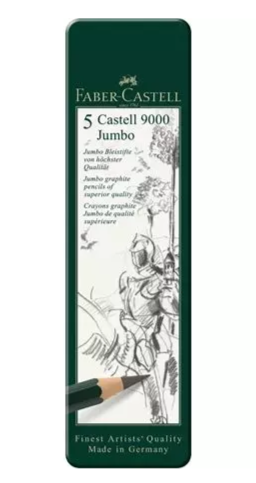 Castell 9000 Jumbo graphite pencil, tin of 5