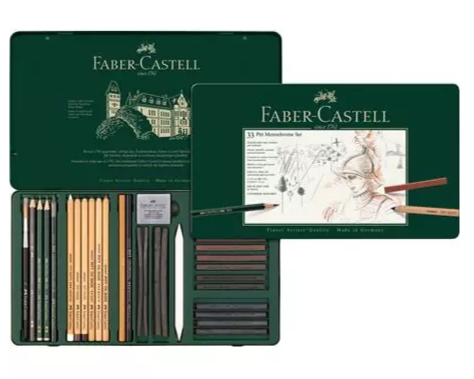Faber-Castell Pitt Monochrome Sketch set, tin of 33