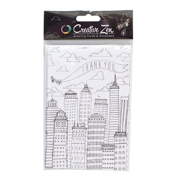COLORING CARDS - AC - CREATIVE ZEN - AIRPLANE - THANK YOU (8 PIECE)