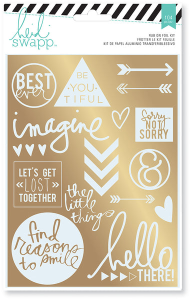 HEIDI SWAPP RUB-ON FOIL KITS - WANDERLUST - SENTIMENTS (21 PIECE)
