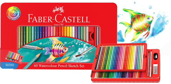 Faber-Castell Watercolour Pencil Sketch Set Tin 60 + Colour Wheel