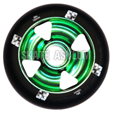 Blunt Cross 4 Spoke 100mm Wheel - Green