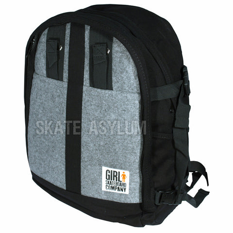 Girl Wool Skate Carrier Backpack Grey