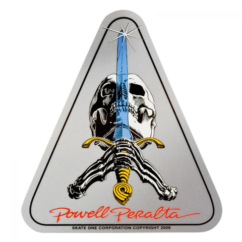 Powell Peralta Skull & Sword Sticker - Silver