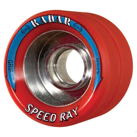 Radar Speed Ray 62mm Roller Skate Wheels - Red 92a