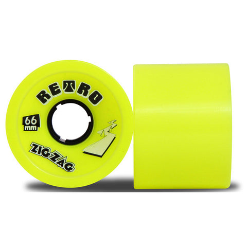 Retro ZigZags 66mm Longboard Wheels Lemon