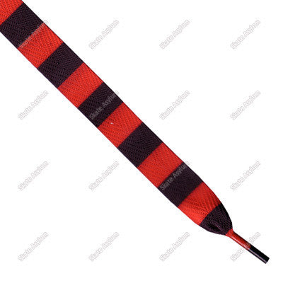 Shoe Laces Wide - Black/Red Stripe