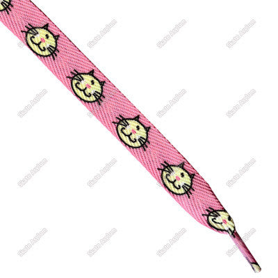 Shoe Laces Wide - Cat Pink/Yellow