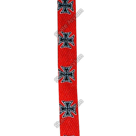 Shoe Laces Wide - Iron Cross - Red