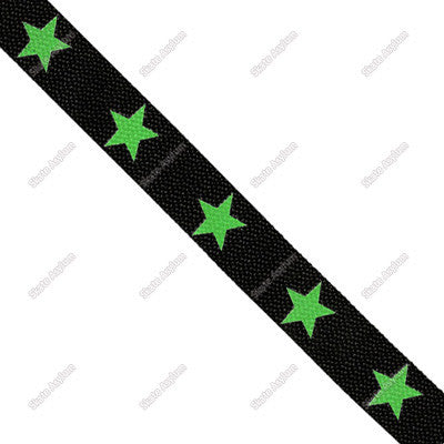 Shoe Laces Wide - Star 5 Black/Green GLOW