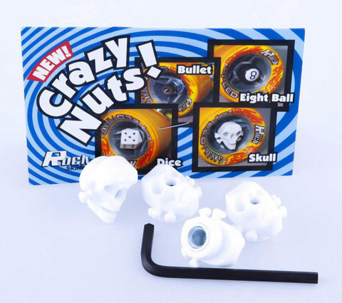 Sure Grip Crazy Nuts Skull Axle Nuts - White