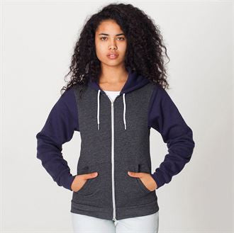 Two tone flex fleece zip hoodie (F497) AA035