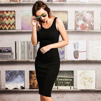 Ribby - ladies solid colour midi dress BS217