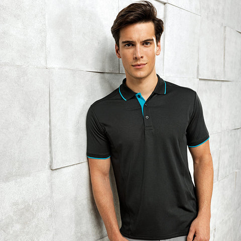 Premium cotton long sleeve double piqué polo GD048