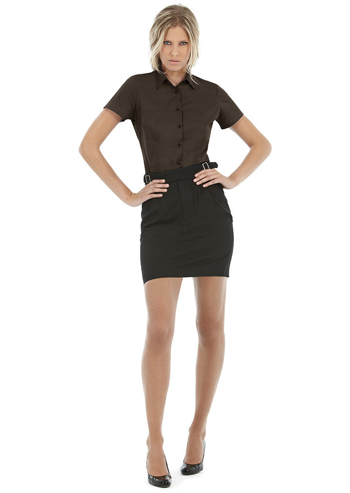 B&C Black tie Short Sleeve Blouse B715F - Fashion At Work (UK) Ltd