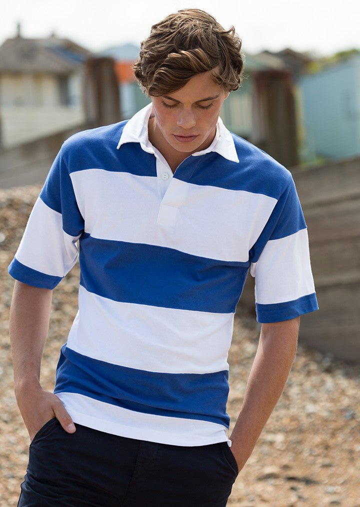 a4057a50df9 Sewn stripe short sleeve rugby shirt FR09M Front Row – Fashion At Work