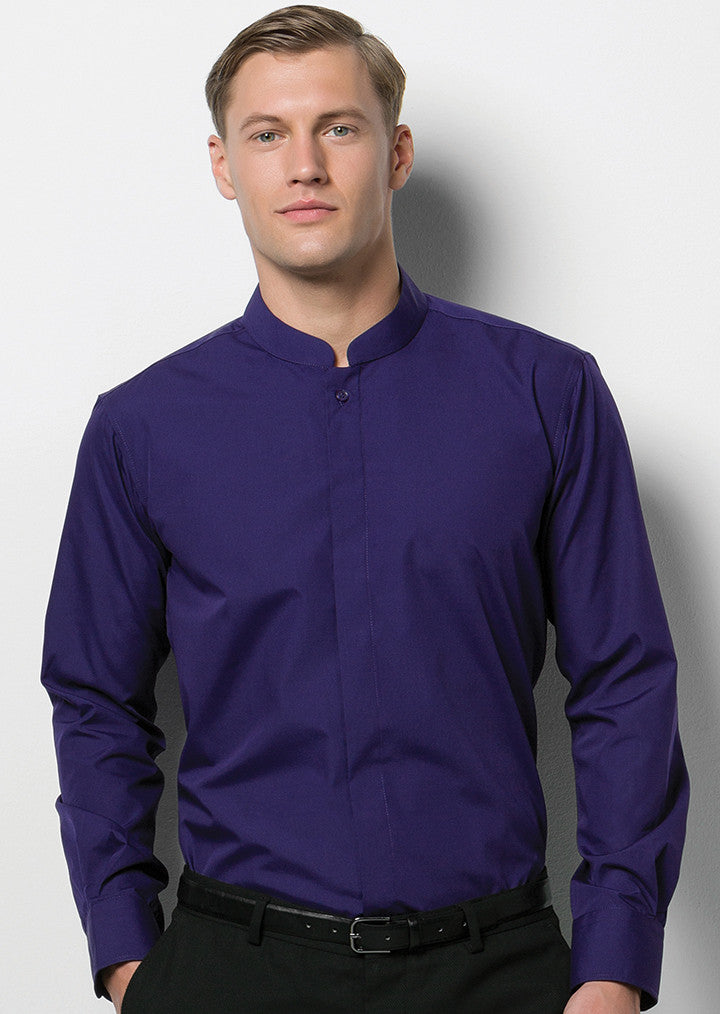 Mandarin Collar Fitted Shirt Long Sleeved KK161
