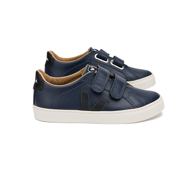 veja junior - esplar small velcro leather lining nautico black pierre