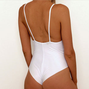 White Ribbed One Piece