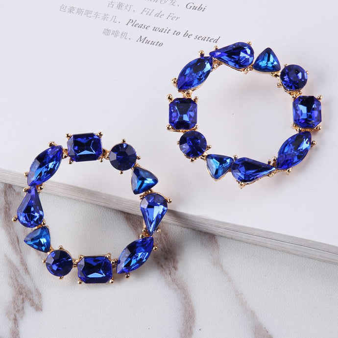 blue saphire rhinestone earrings