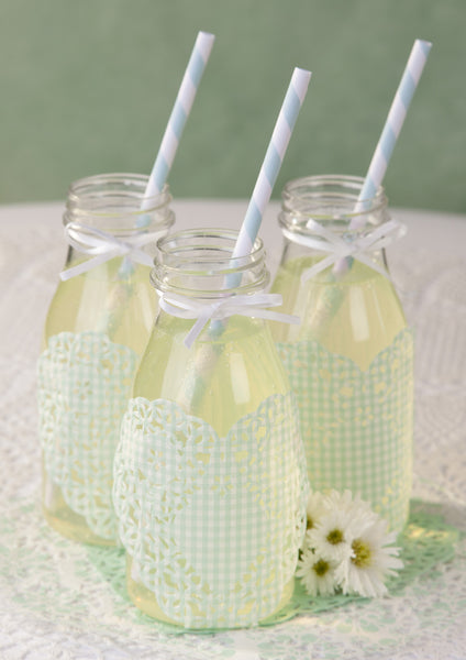 Mint Stripey Paper Straws