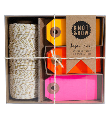 Gold & Warm Neon Tag & Twine Box