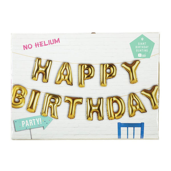 Happy Birthday Gold Balloon Banner