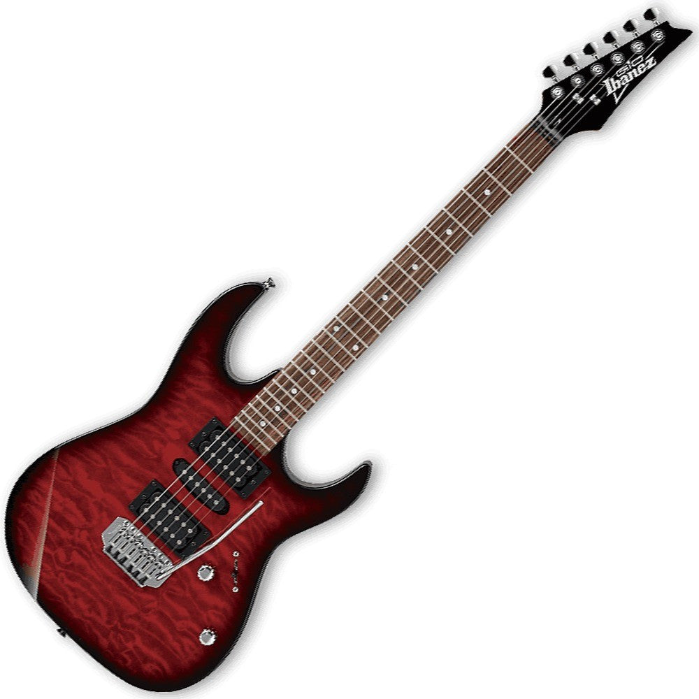Ibanez GRX70QA-TRB Electric Guitar in Transparent Red Burst