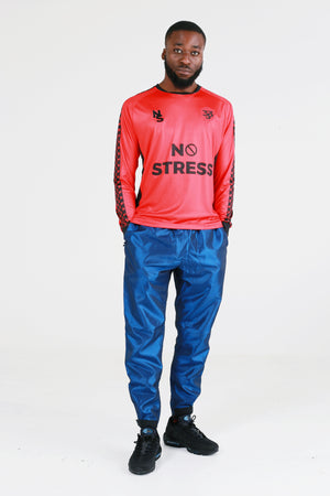 Nylon Taffeta Hussle Blue Track Pant - No Stress Wear