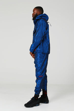 Nylon Taffeta Hussle Blue Pullover Track Top - No Stress Wear