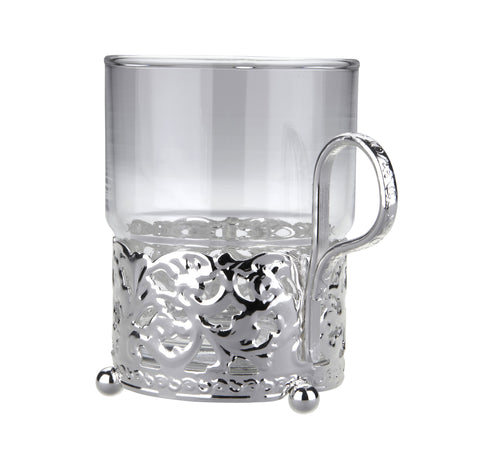 Queen Anne Silver Plated Single Heat Resistant Tea Glass with handle (Royal Design) - 0-6322-7