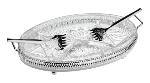 Queen Anne Silver Plated Oval Glass Appetizer Dish with 4 Divisions (2 Forks) - 0-6229