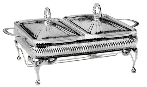 Queen Anne Silver Plated Rectangle Serving Dish Double with warmers (2 Lid + 2 Oven Dish) - 0-6280