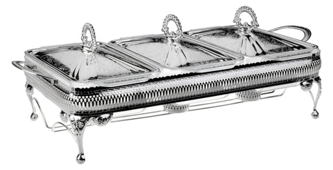 Queen Anne Silver Plated Rectangle Serving Dish Triple with warmers (3 Lid + 3 Oven Dish) - 0-6283