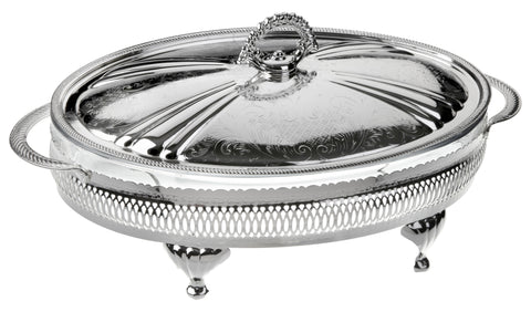 Queen Anne Silver Plated Oval Serving Dish Medium (Lid + Oven Dish) - 0-6291