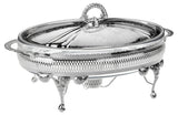 Queen Anne Silver Plated Oval Serving Dish Large Single with warmers ( Lid + Oven Dish) - 0-6292