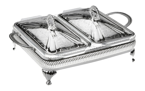 Queen Anne Silver Plated Serving Dish Double ( 2 Lid +  2 Oven Dish)- 0-6300