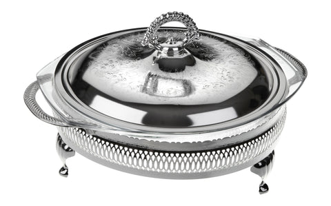Queen Anne Silver Plated Round Serving Dish Large ( Lid + Oven Dish) - 0-6309