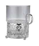Queen Anne Silver Plated Single Heat Resistant Tea Glass with handle (Royal Antique) - 0-6322-A