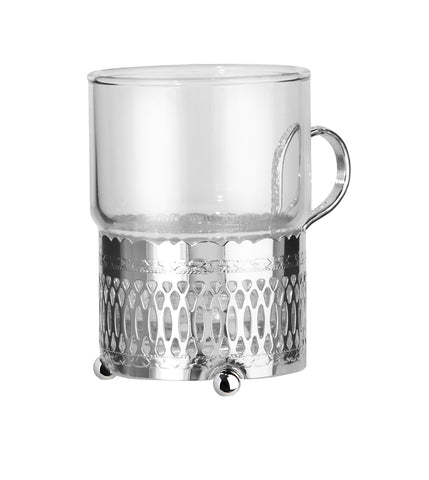 Queen Anne Silver Plated Single Heat Resistant Tea Glass with handle (Roman Design) - 0-6322-R
