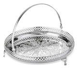 Queen Anne Silver Plated Round Tray with Handles and legs (23 cm Diameter) - 0-6328