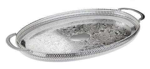 Queen Anne Silver Plated Oval Tray with handles (45 x 25.5 cm) - 0-6332