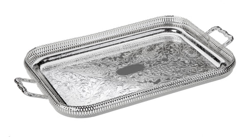 Queen Anne Silver Plated Medium Rectangle Tray with handles (51 x 29 cm) - 0-6336