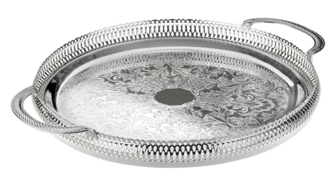 Queen Anne Silver Plated Large Round Tray with handles (36 cm Diameter) - 0-6392