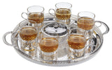 Queen Anne Silver Plated 9 Pc Set (6 Tea Glass (Roman Design) cups with handle+Tray+sugar bowl with lid+spoon) - 0-6400-R