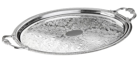 Queen Anne Silver Plated Large Oval Tray with handles (50.5 x 33 cm) - 0-6463