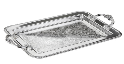 Queen Anne Silver Plated Rectangle Oval Tray with swing handle (40.5 x 25 cm) - 0-86