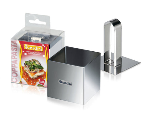 Guardini Square Food Ring 6x6cm with pusher Stainless Steel - 15666