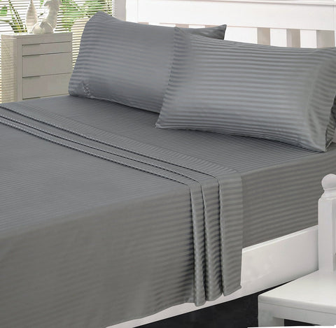 Percale 100% Egyptian Cotton Bed Sheet 5 pieces Set (Sheet (280x300 cm)+2 Pillow Covers+2 Pillow Cases) Grey-2171GR