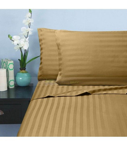 Percale 100% Egyptian Cotton Bed Sheet With Elastic 2 pieces Sets (2 Bed Sheets (120x200/30 cm)) Gold- 2237GO